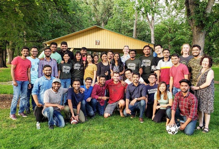 Group of ECE graduate students at the park