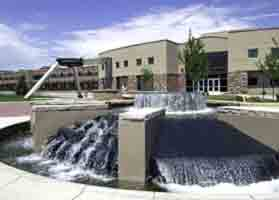 Picture of the fountain outside Colorado State University's engineering building in 32 ppi resolution