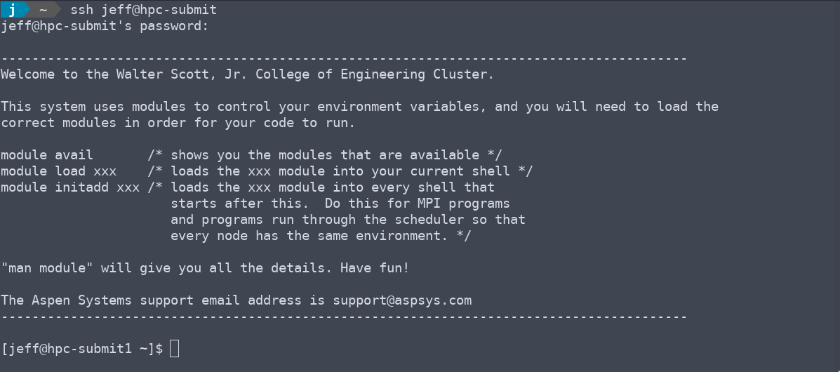 Logging onto the cluster using SSH.
