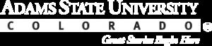 Adams State University wordmark logo white