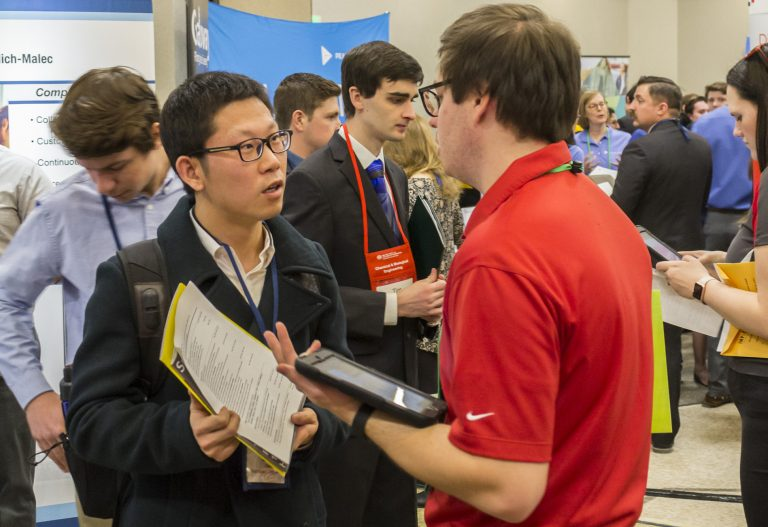 photo of students and recruiters at the Spring 2018 Career Fair
