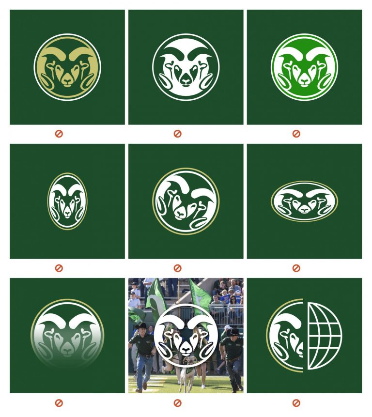 graphic of grid showing bad examples of CSU logo implementations.