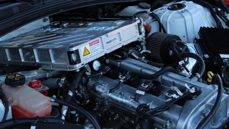 EcoCar engine closeup. Image copyright Walter Scott, Jr. College of Engineering, Colorado State University.