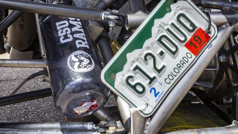 Closeup of rear end of CSU Formula SAE racecar, Image copyright Walter Scott, Jr. College of Engineering, Colorado State University.
