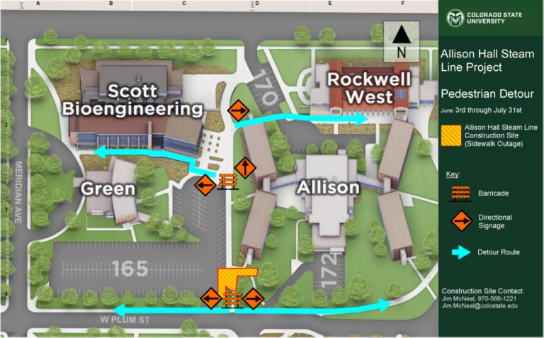 Allison Hall closure Pedestrian Detour Map