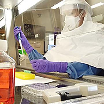 Female in laboratory