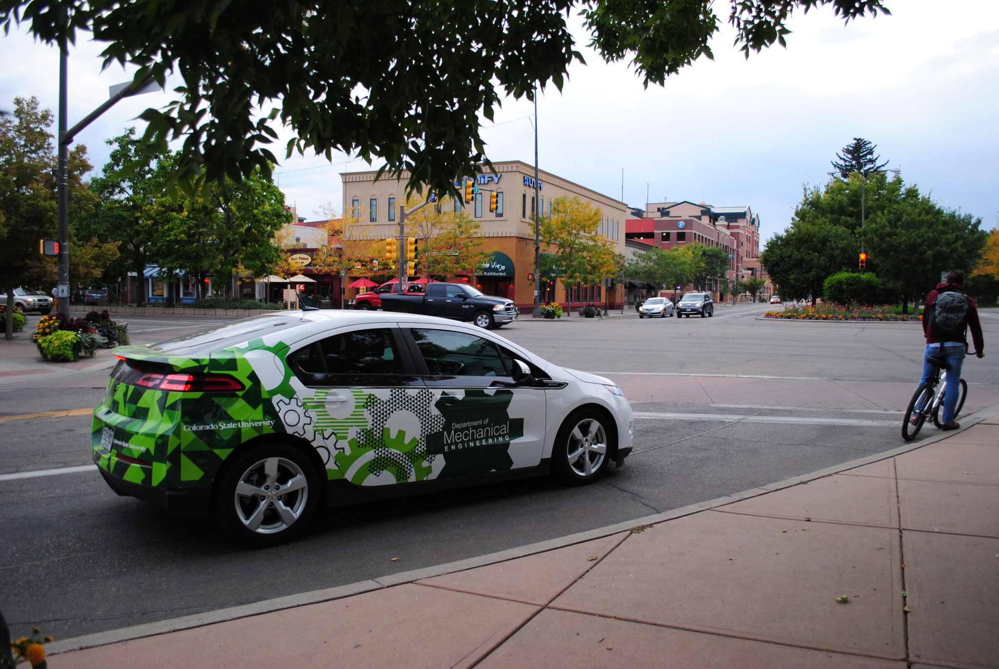 CSU Hydrogen Car driving through Old Town Fort Collins