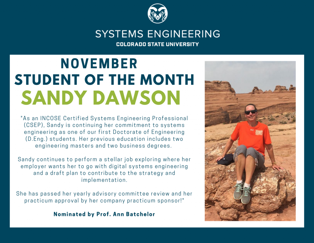 Sandy Dawson's November Student of the Month Award