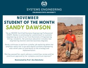 Sandy Dawson's November Student of the Month Award