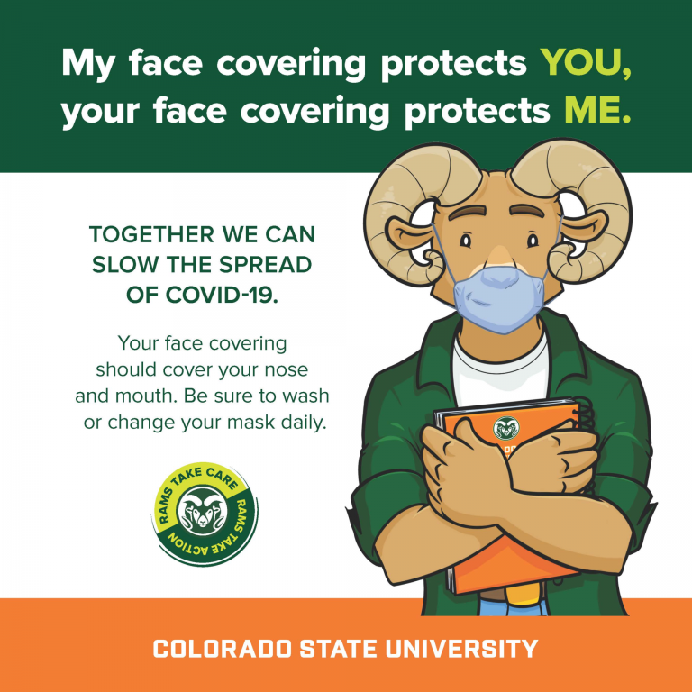COVID-19 precautions flyer about face coverings.