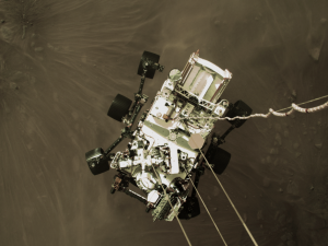 Image of NASA's Perseverance rover touching down on Mars, Feb. 18, 2021