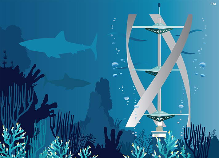 Computer rendering of hydrokinetic turbine in the water with a shark behind it.