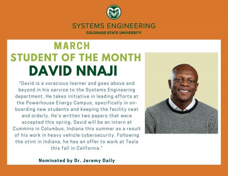 Student of the month award for David Nnaji