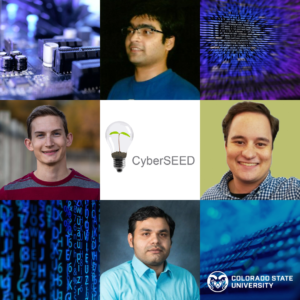 Photos of the four team members with alternating photos of computer-related things like keyboards and lines of programming language code.