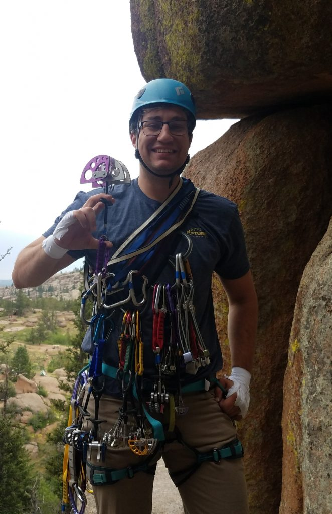 Photo of Keith Fox outside with climbing gear