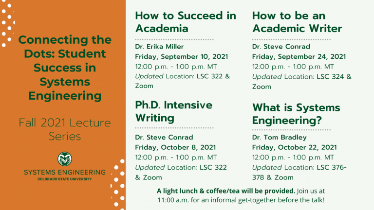 """Connecting the Dots - Student Success in Systems Engineering flyer. All details below in accordion titled """"Text Description of Flyer"""""""