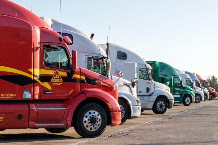 A row of heavy-duty trucks