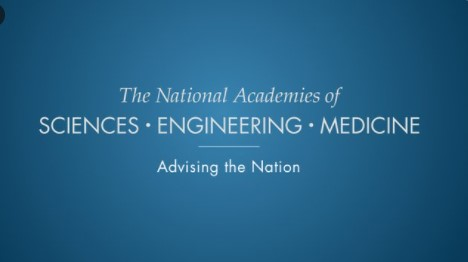 """Blue background with white text: """"The National Academies of Sciences, Engineering, and Medicine. Advising the Nation."""""""