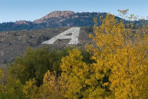 Aggie A in front of Horsetooth Rock