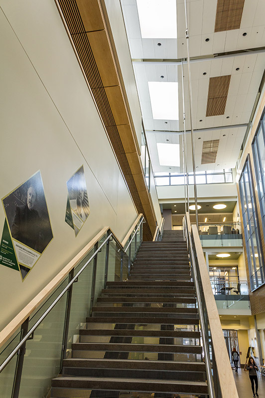 Staircase, Suzanne and Walter Scott, Jr. Bioengineering Building