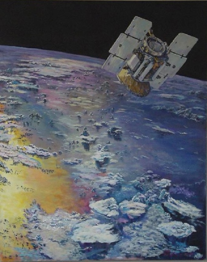 Oil and Acrylic on canvas, 48in x 60in, Artist's concept of CloudSat in orbit