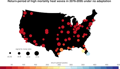 Return period of very dangerous heat waves in 2076-2095 from the CMIP5 models.