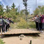 Engineering students balance on an activity at CSU's mountain campus