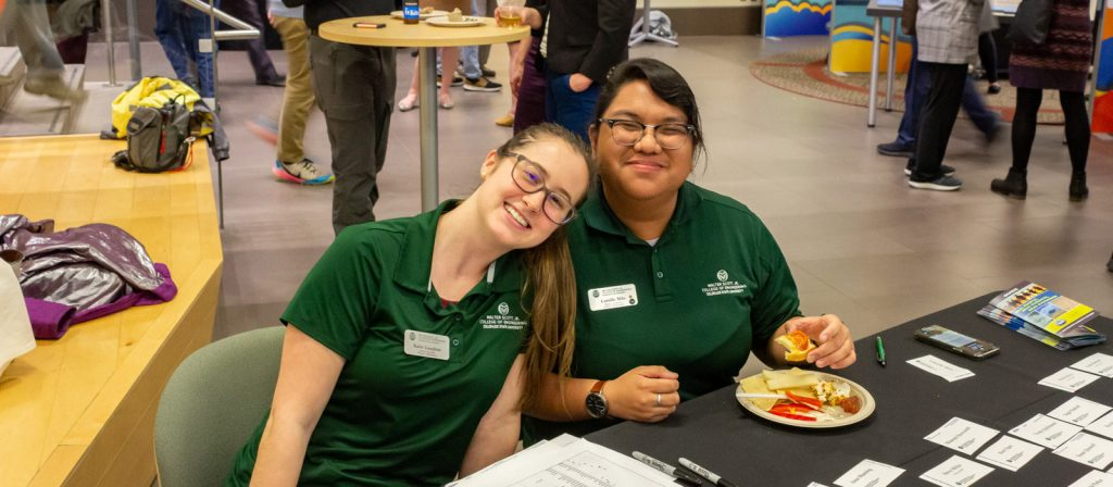 Student ambassadors Katie Gaughan and Camille Milo at the NCAR panel discussion, March 2020