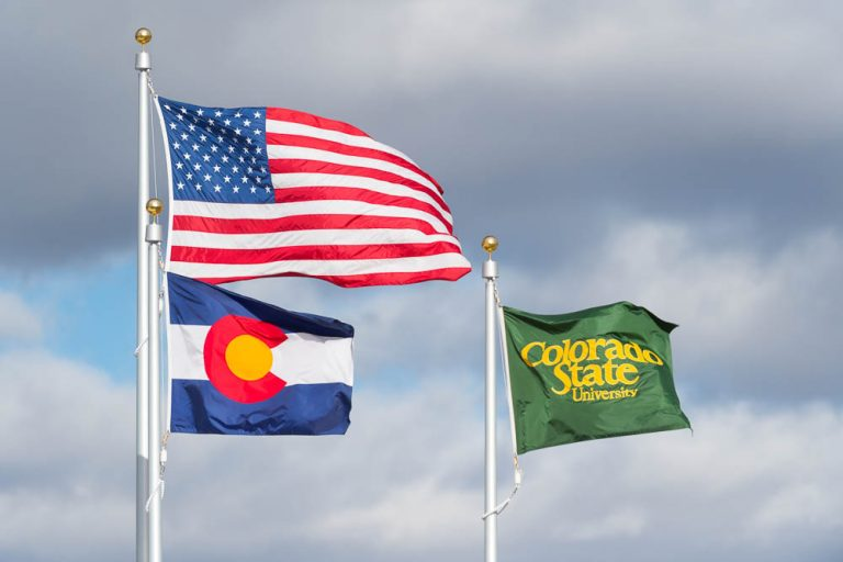 Flags flying at Colorado State Univeristy