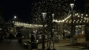 Old Town's lights at night