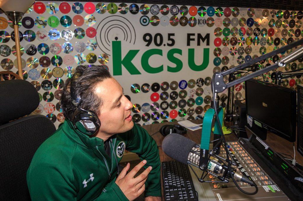A KCSU DJ on air