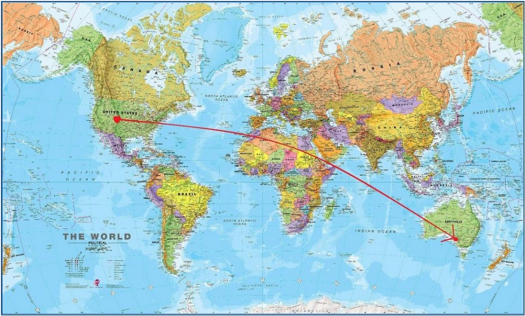 A map of the path Mauri Richards took to fly from the US to Austrailia