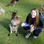 Mauri Richards and a kangaroo in Australia