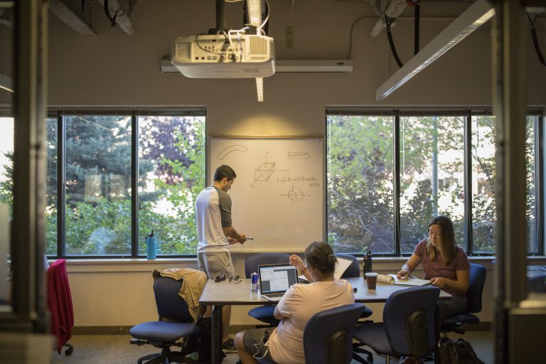 A student works in the Magellen Design studios in the Engineering Residential Learning Community