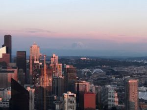 A photo showing the city from the top of the space needle