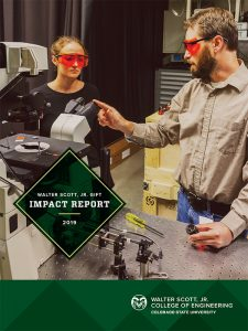 2019 Walter Scott, Jr. Gift Impact Report cover featuring Faculty member Jesse Wilson and student Cameron Coleal in the Wilson Lab, September 2019