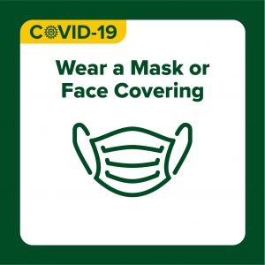 COVID-19 Health Protocols design with text: Public Health Expectations; Wear a mask or face covering