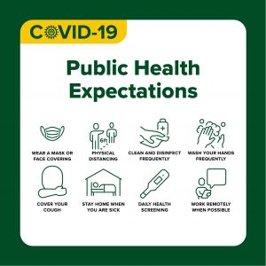 COVID-19 Health Protocols design with text: Public Health Expectations; Wear a mask or face covering, physical distancing, clean and disinfect frequently, wash your hands frequently, cover your cough, stay home when you are sick, daily health screening, work remotely when possible