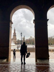 A CSU study abroad student at the Plaza de Espana