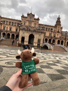 A CSU Ram mascot at the Plaza de Espana