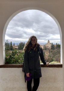 Student poses in the Alhambra