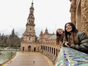 Two study abroad students at the Plaza de Espana