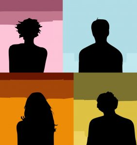graphic art of four human silhouettes, each on a color background. Image source: Pixabay