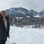 Kate Boyd in front of the Flatirons