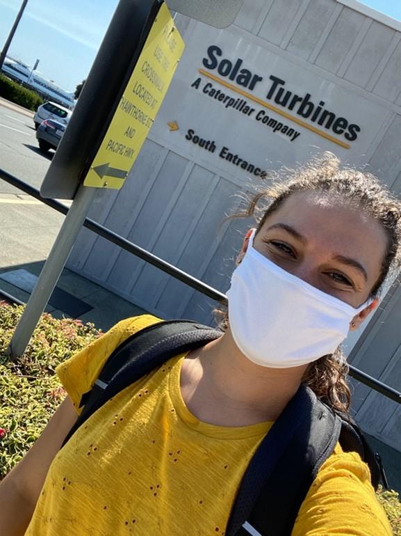 Student ambassador Sarah at an internship with Solar Turbines