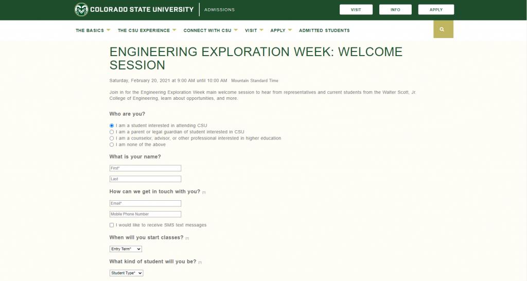 Screenshot of the Engineering Exploration Week website