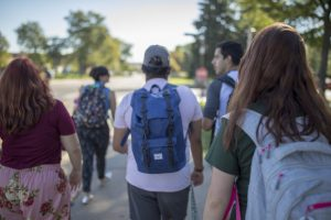 Students walking on Colorado State University's campus