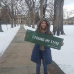 Student ambassador Katy Rodriguez as a first year at the Oval