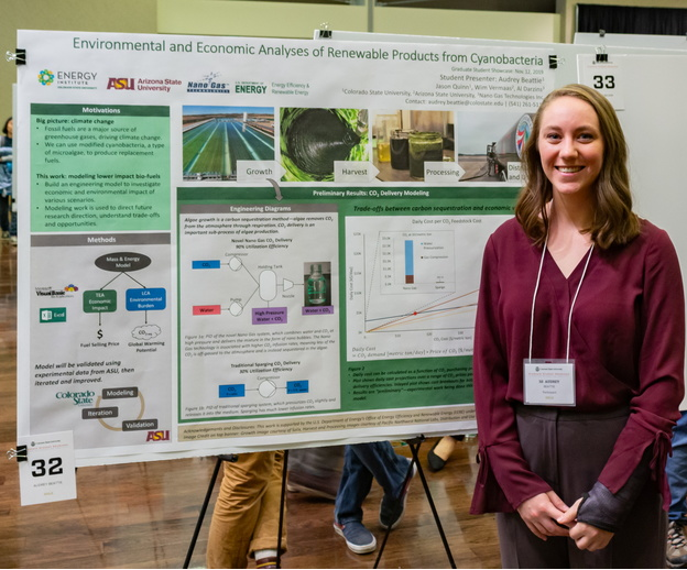 A student stands next to her grad student showcase final presentation