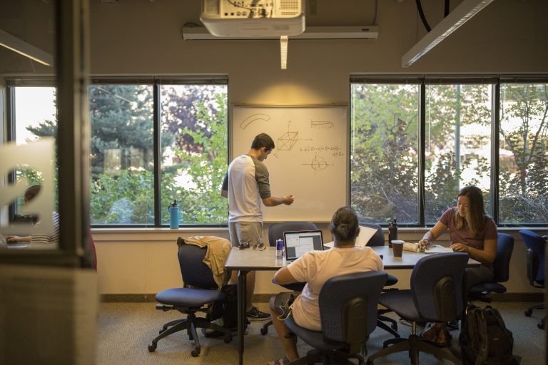 Students studying in the ground floor of the Engineering Residence Hall